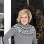 Fashion Blogger 50 Is Not Old is wearing a gray Fairisle sweater from the Loft Outlet