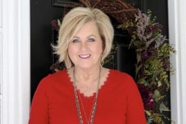 Fashion Blogger 50 Is Not Old is wearing a classical look with a red v-neck sweater