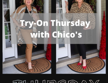 Fashion Blogger 50 Is Not Old trying on Chico's clothing