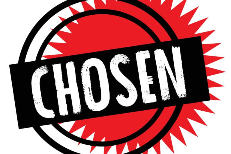 Chosen stamp in red and black