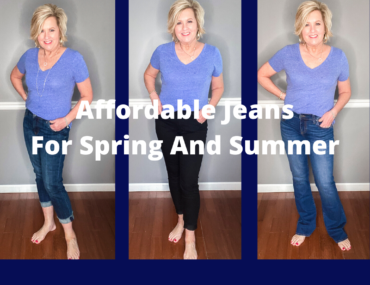 Fashion Blogger 50 Is Not Old showing affordable jeans for spring and summer