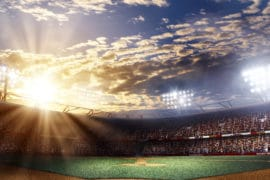 Professional baseball grand arena in light rays