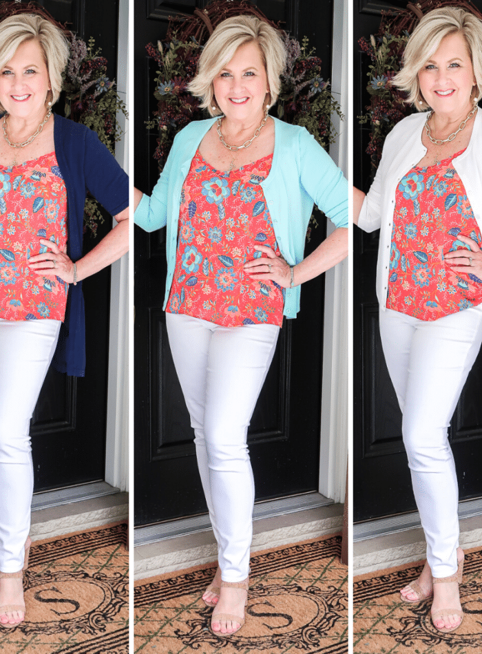 Fashion Blogger 50 Is Not Old is wearing three different colored cardigans with white jeggings and cork sandals