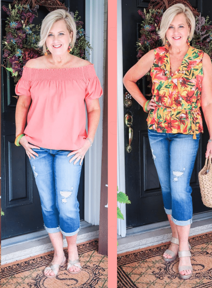 Fashion Blogger 50 Is Not Old is showing how to make 4 outfits from 4 items