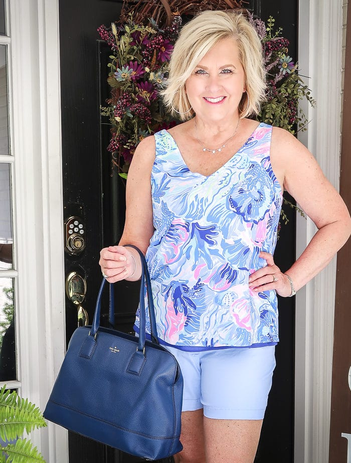 Fashion Blogger 50 Is Not Old wearing a reversible tank by Lilly Pulitzer