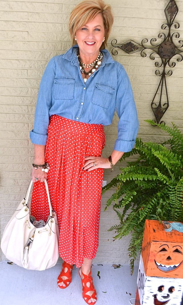 50 IS NOT OLD | CHAMBRAY AND POLKA DOTS