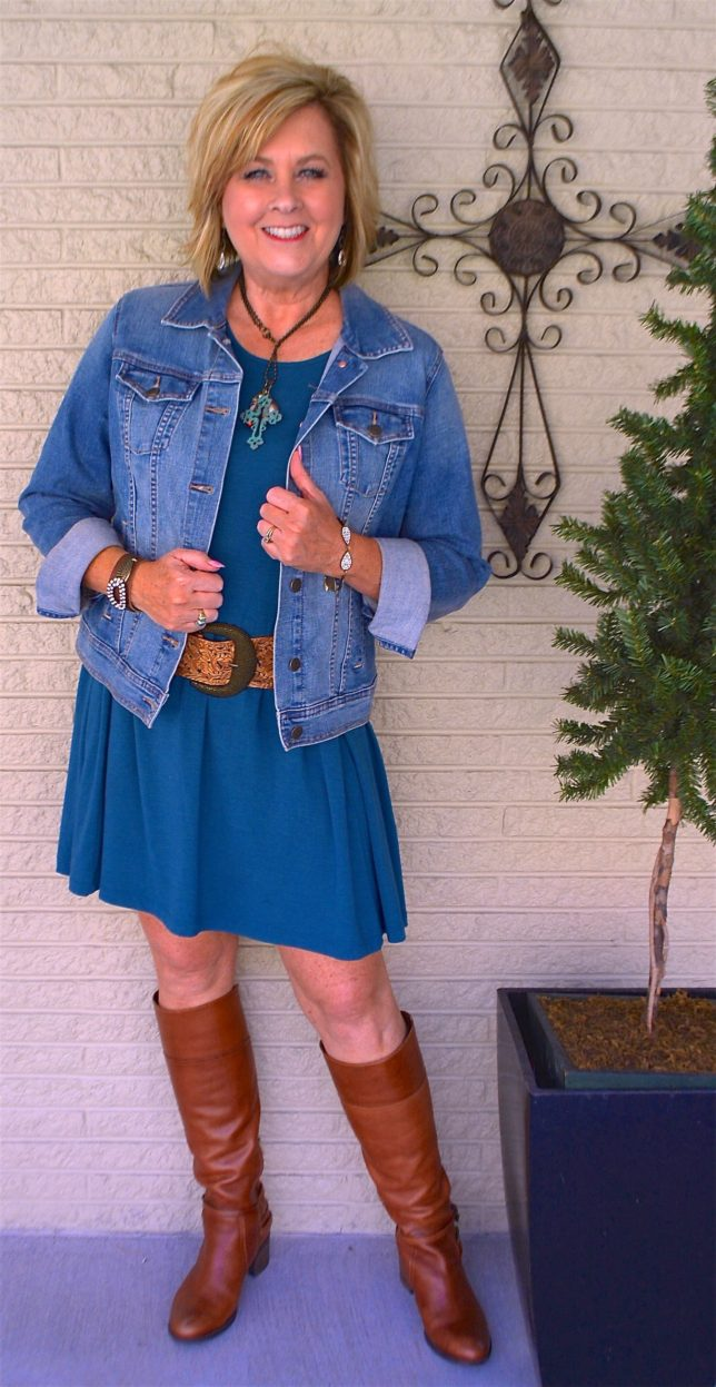 Knee boots with a swing dress and a denim jacket worn by Fashion Blogger 50 Is Not Old