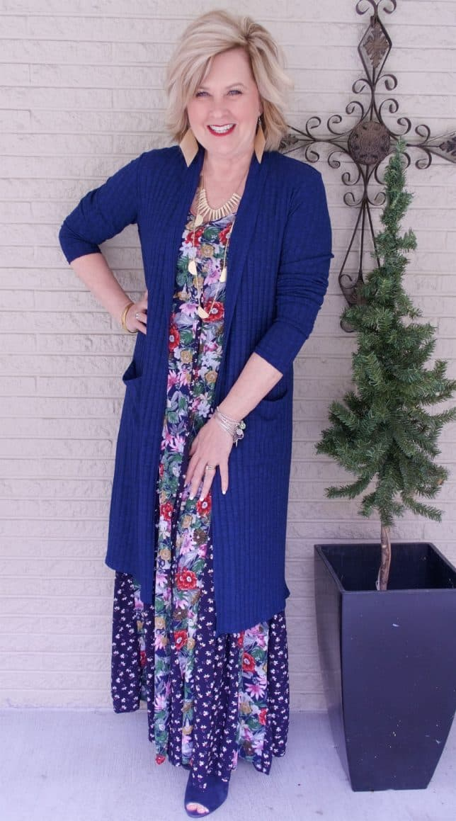 Open toe boots with a floral maxi dress worn by Fashion Blogger 50 Is Not Old