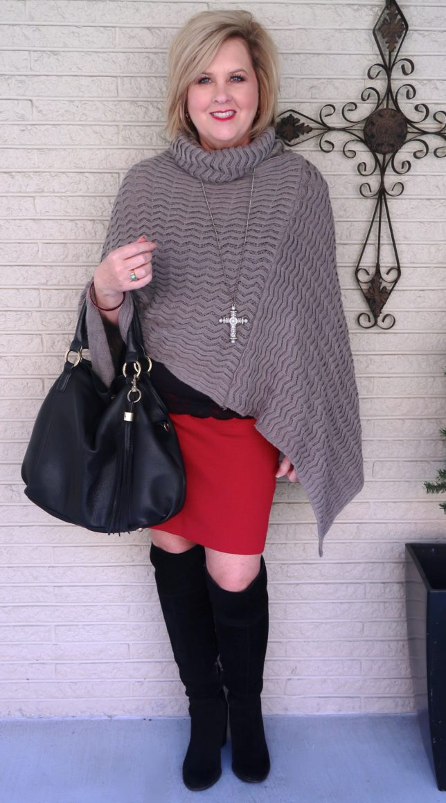 Black knee boots with a red pencil skirt and a gray poncho worn by Fashion Blogger 50 Is Not Old