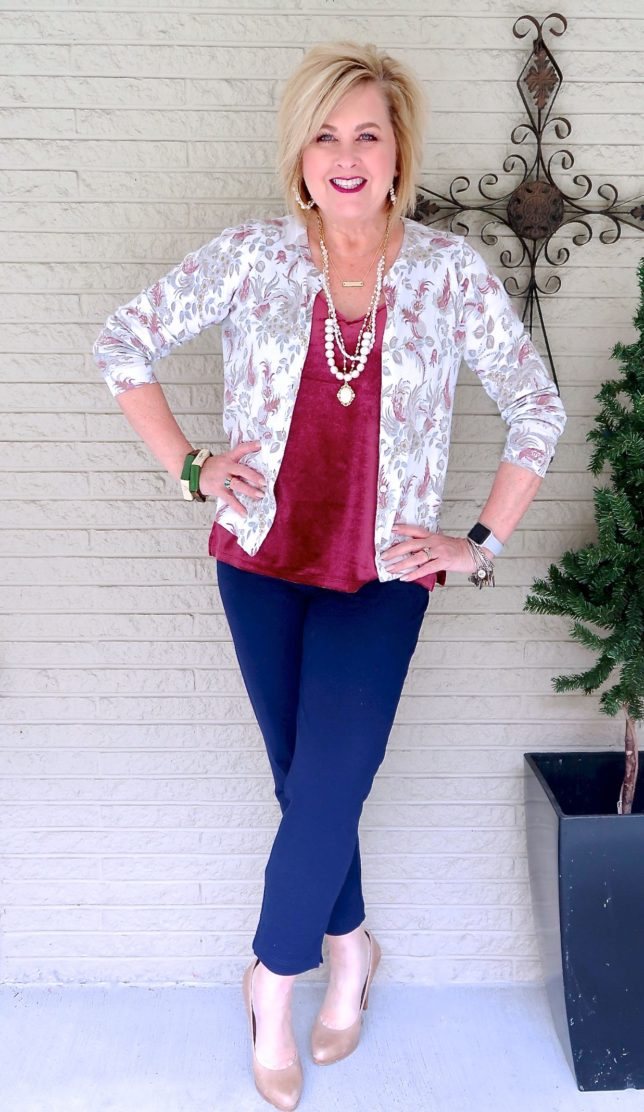 50 IS NOT OLD   VELVET AND NAVY ANKLE PANTS   FASHION OVER 40