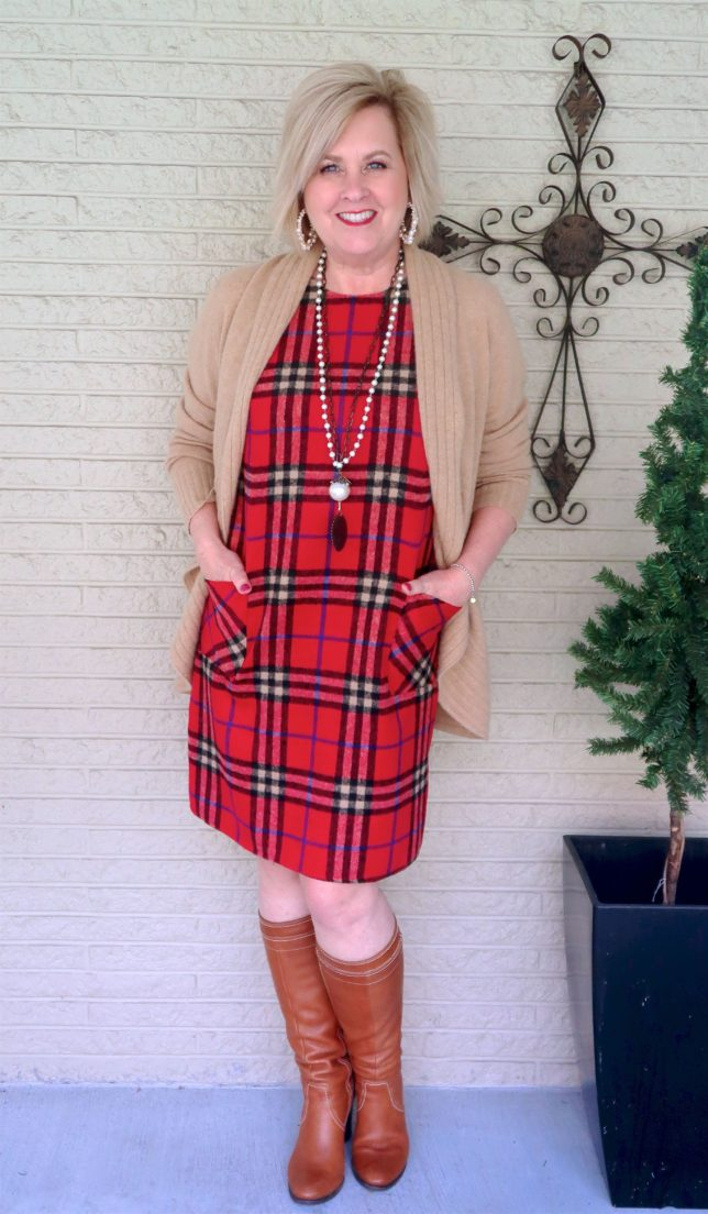 Knee boots with a plaid dress worn by Fashion Blogger 50 Is Not Old