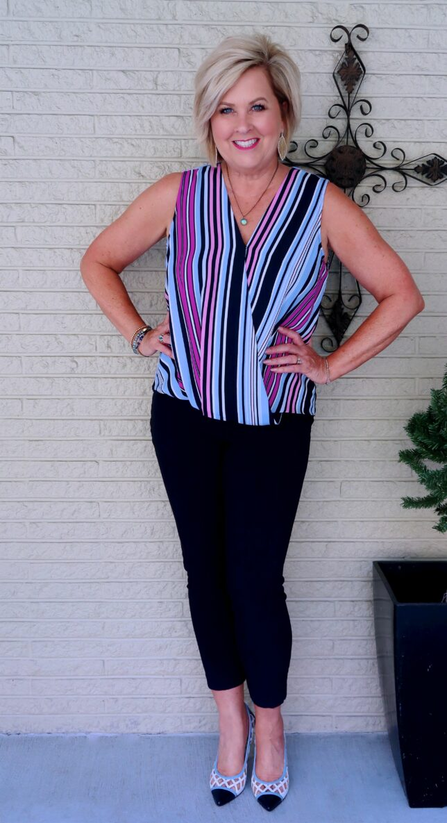 50 IS NOT OLD   FAUX WRAP TOP AND SKINNY PANTS   FASHION OVER 40