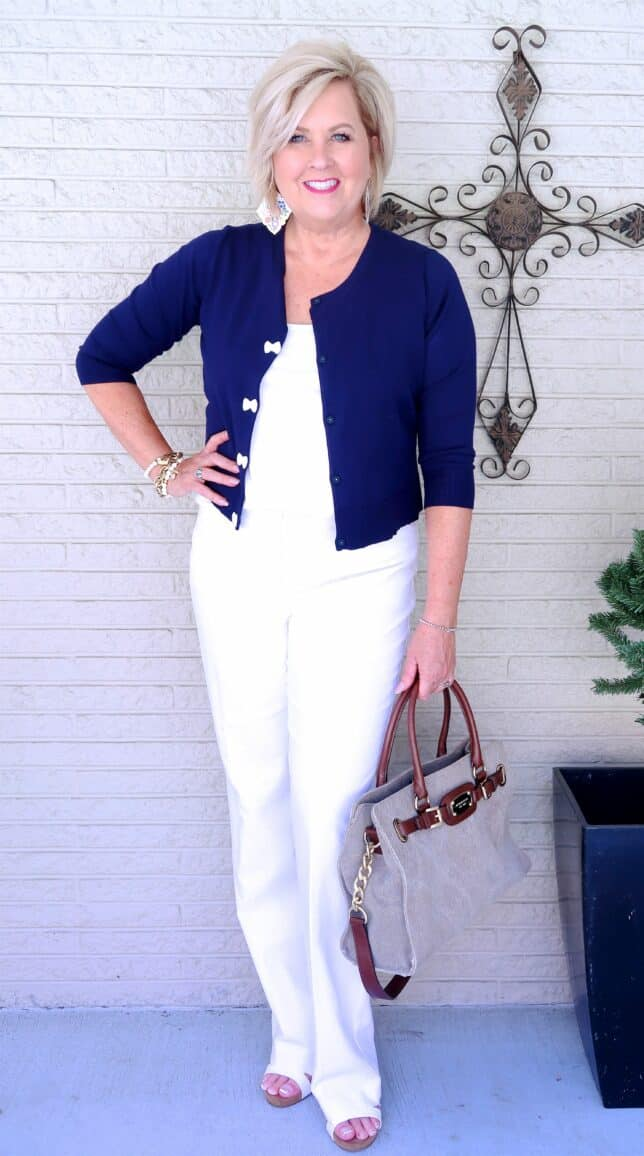 50 IS NOT OLD | ADDING NAVY TO A WHITE ON WHITE OUTFIT | FASHION OVER 40