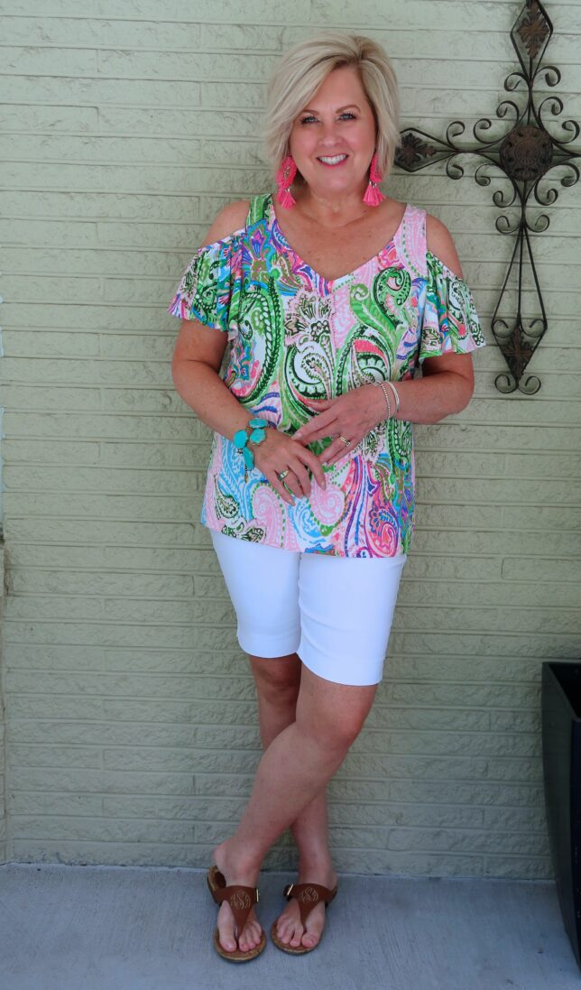 50 IS NOT OLD | WHITE SHORTS AND A COLD SHOULDER TOP | FASHION OVER 40