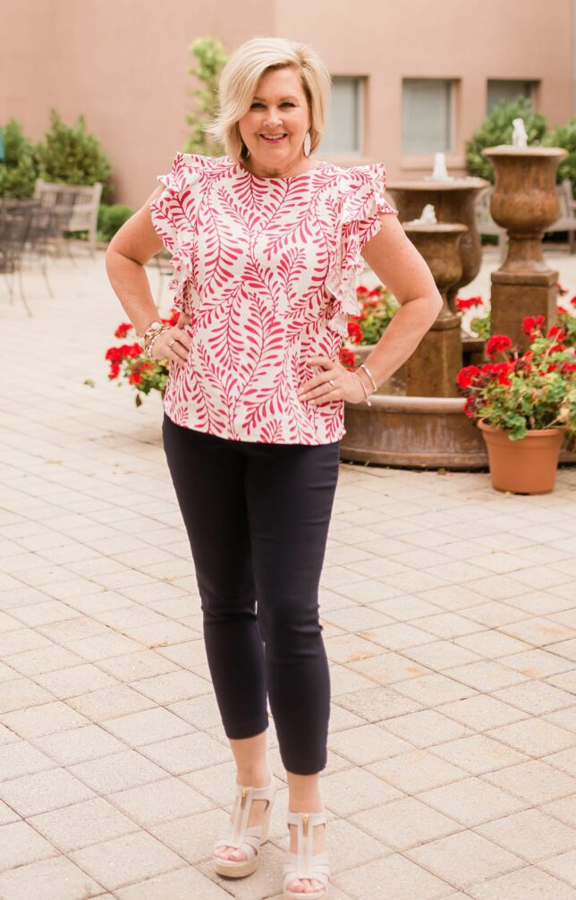 50 IS NOT OLD   DOUBLE RUFFLES FOR A FEMININE LOOK   FASHION OVER 40