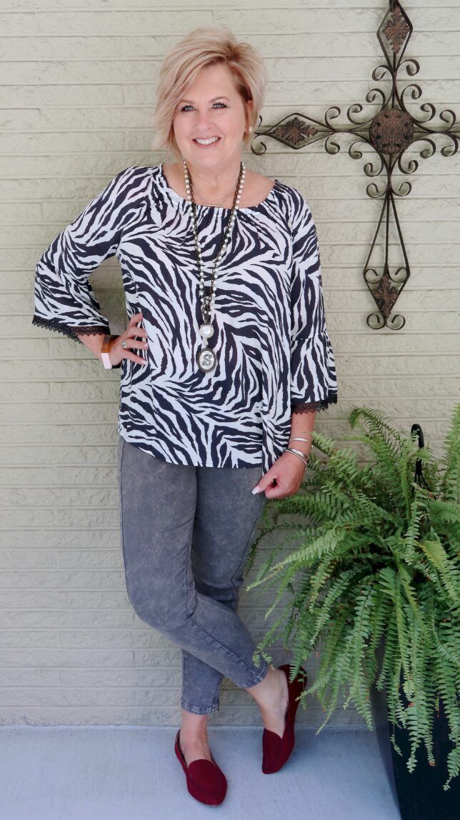 50 IS NOT OLD | BLACK AND WHITE STRIPED TOP WITH JEANS | FASHION OVER 40