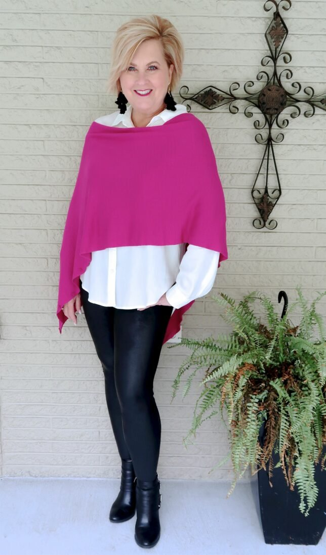 faux leather leggings with pop of color