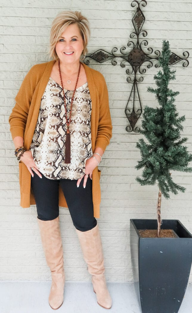 Knee Boots with snakeskin top