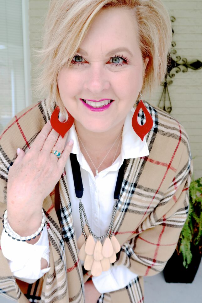 50 IS NOT OLD | HOW TO YOU WEAR A PLAID RUANA IN THE FALL | FASHION OVER 40