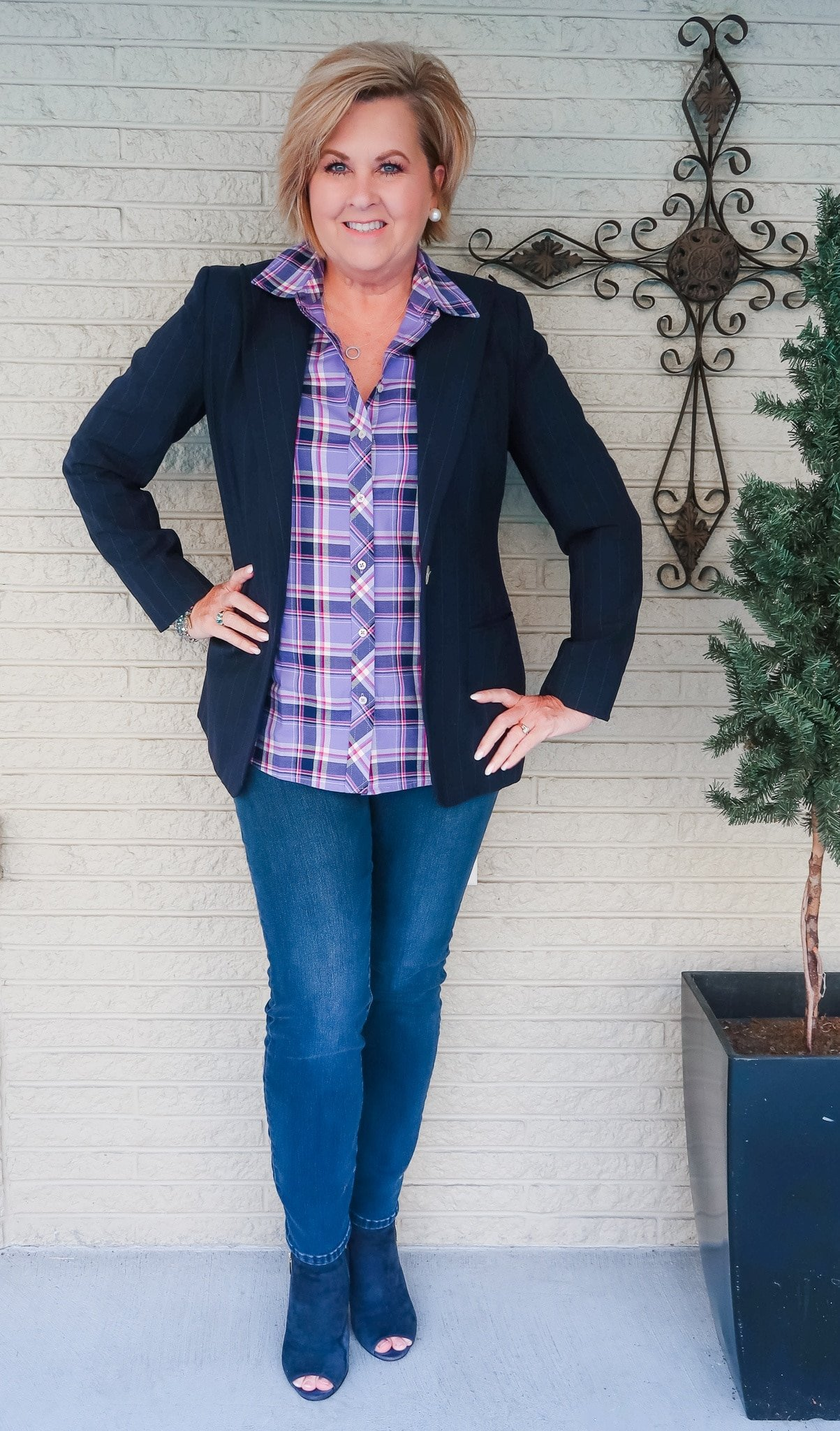 Purple Plaid Button Up and Skinny Jeans