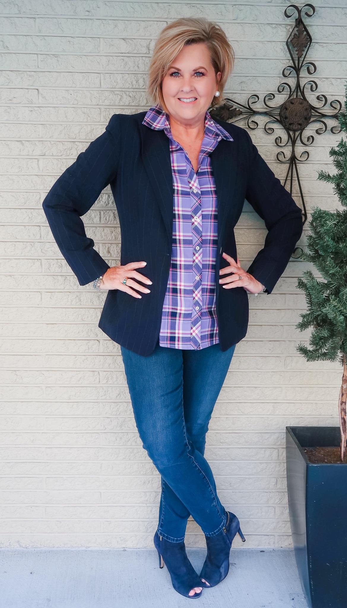 plaid purple shirt and blue blazer