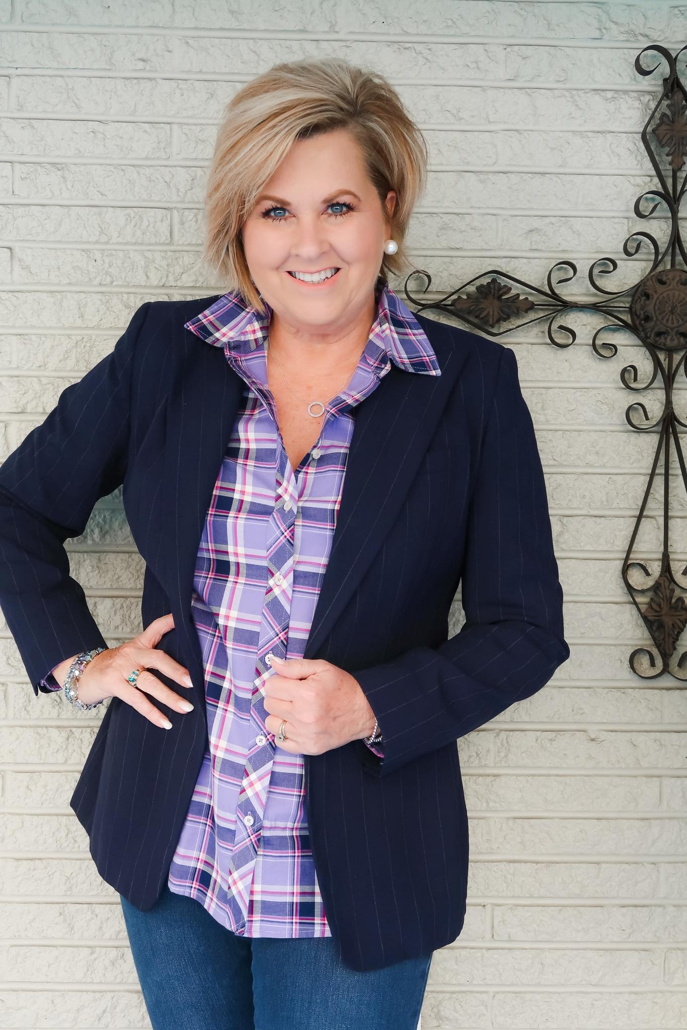 Purple plaid shirt and blue Blazer