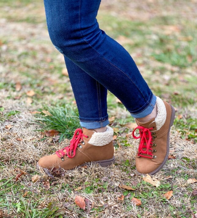 hiking boots and jeans