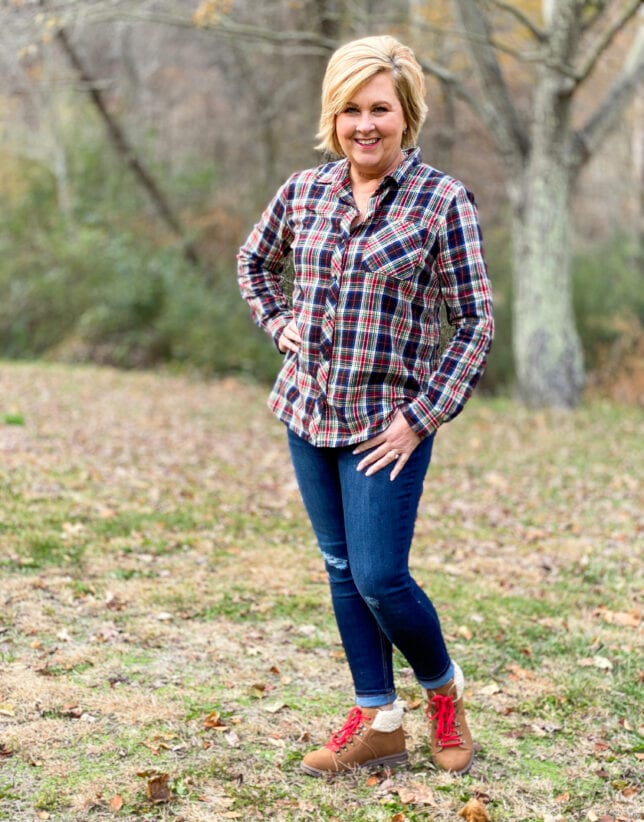 Outdoor clothing with plaid shirt