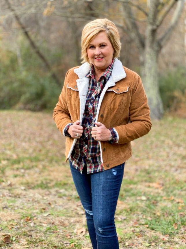 outdoor apparel and corduroy jacket
