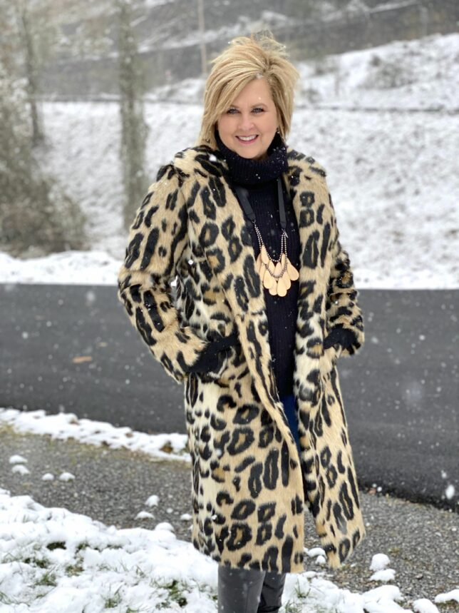 leopard print faux fur reversible coat