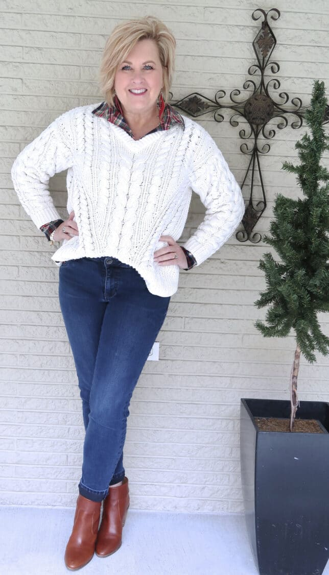 PLAID SHIRT AND CABLE KNIT SWEATER