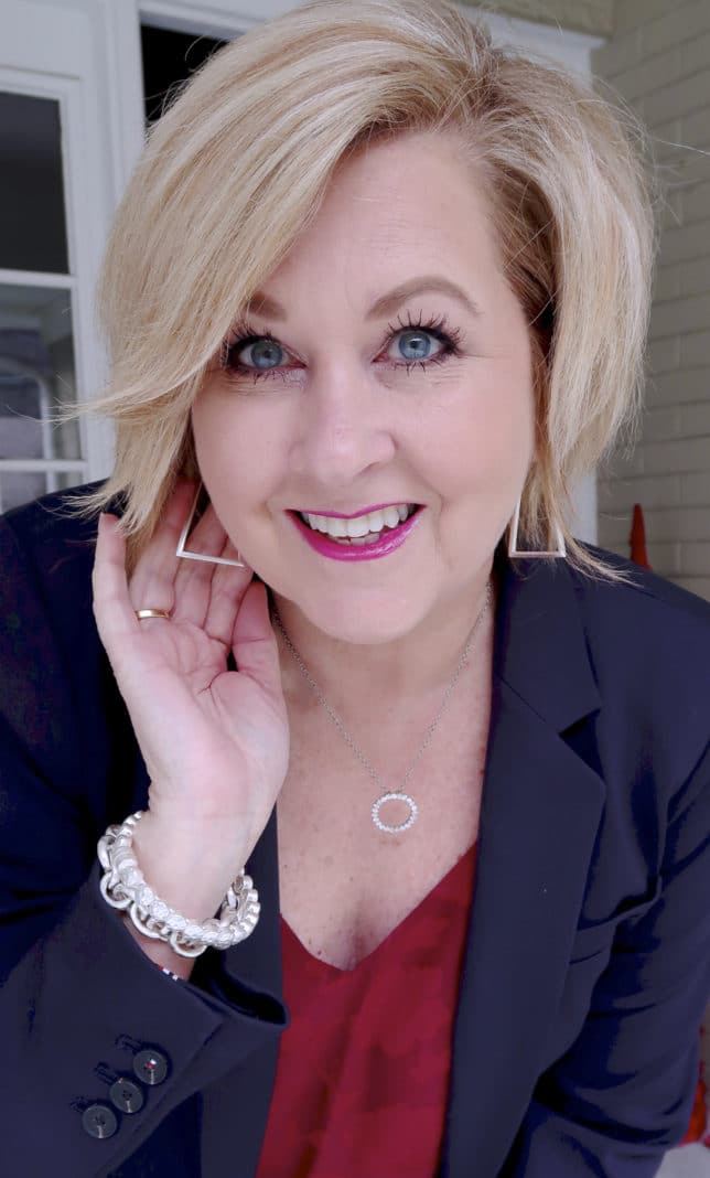 Geometric silver hoops from Kendra Scott worn by fashion blogger 50 Is Not Old
