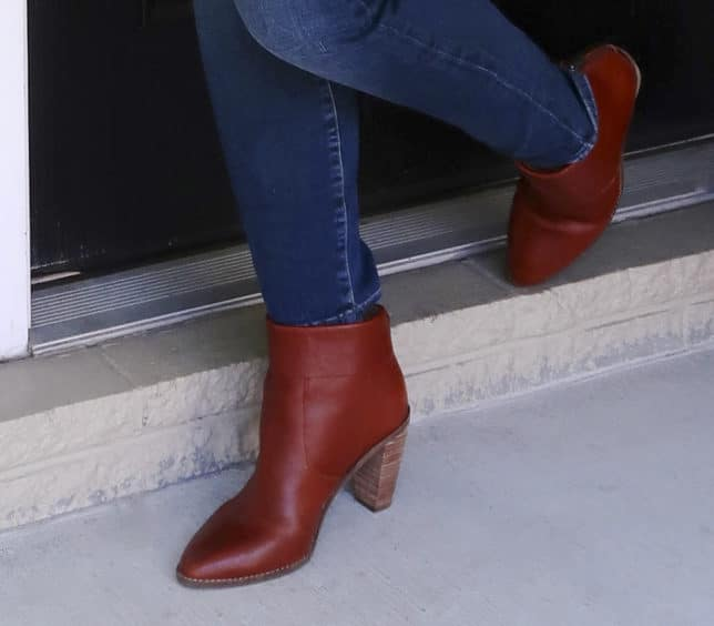 Fashion Blogger 50 Is Not Old is wearing cuffed ankle boots by Lucky Brand