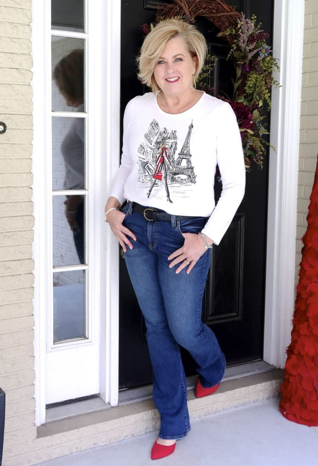 FASHION BLOGGER 50 Is Not Old swears a graphic Paris tee with jeans