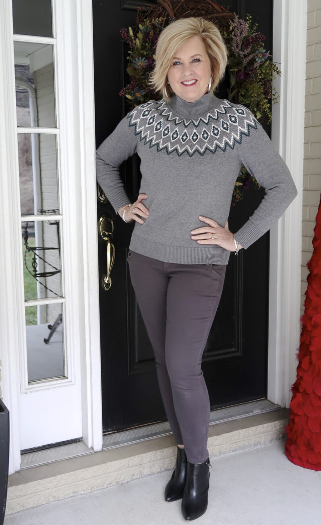 Fashion Blogger 50 Is Not Old is styling a monochromatic look in gray
