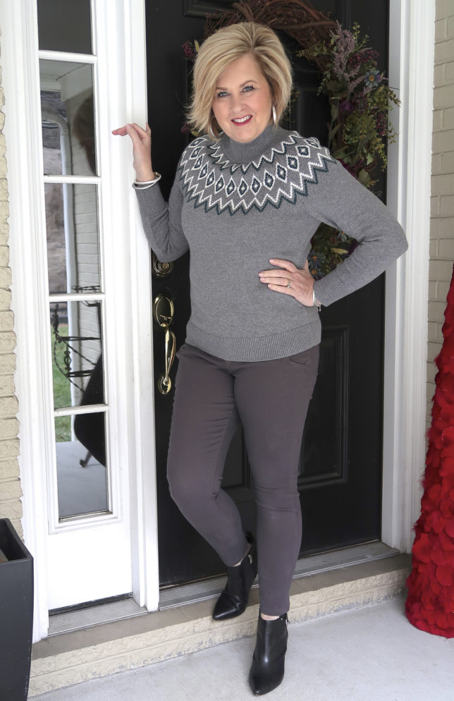 Fashion Blogger 50 Is Not Old is wearing a monochromatic look in gray