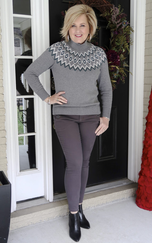 Fashion Blogger 50 Is Not Old is wearing a monochromatic gray outfit