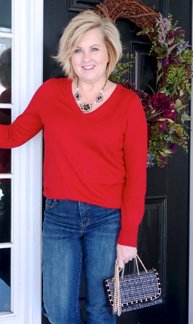 a red v neck sweater from Target worn by Fashion Blogger 50 Is Not Old