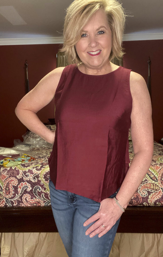 The Loft try on session with blogger 50 Os Not Old is wearing a merlot sleeveless shell