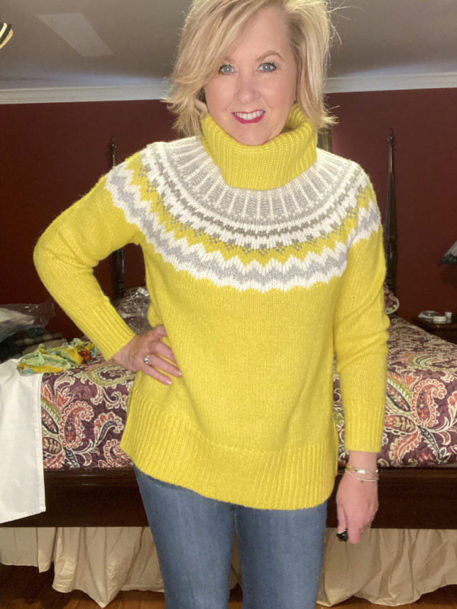 The Loft try on session with blogger 50 Os Not Old is wearing bright yellow Fairisle sweater