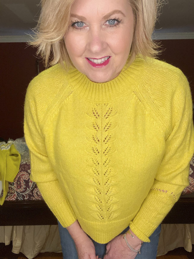 The Loft try on session with blogger 50 Os Not Old is a yellow cropped sweater