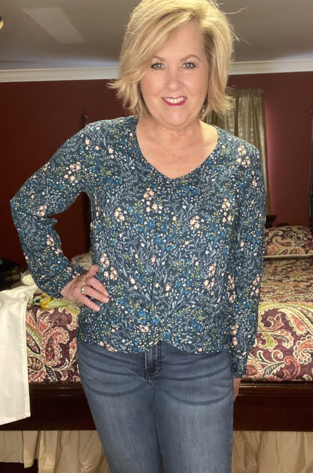 The Loft try on session with blogger 50 Os Not Old is a floral twist front top
