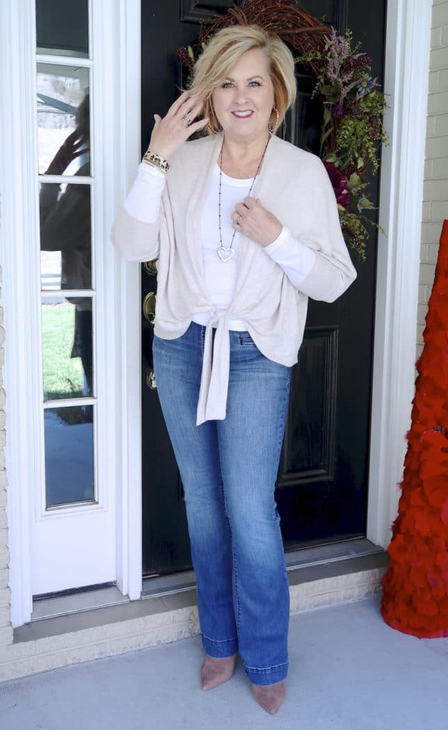 Casual style from Fashion Blogger 50 Is Not Old in a put together look with a tie-front cardigan from Chico's