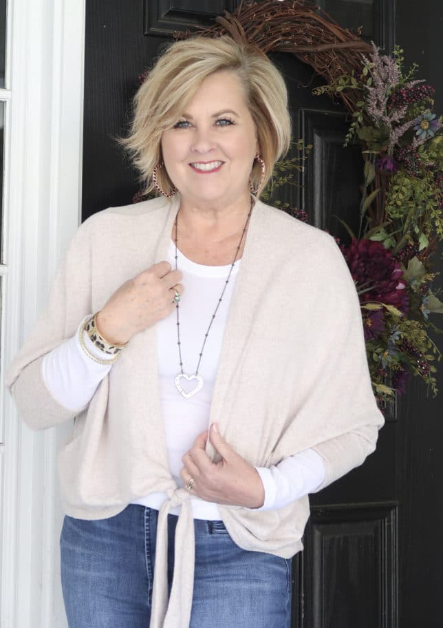 Casual style from Fashion Blogger 50 Is Not Old in a neutral tie-front cardigan from Chico's