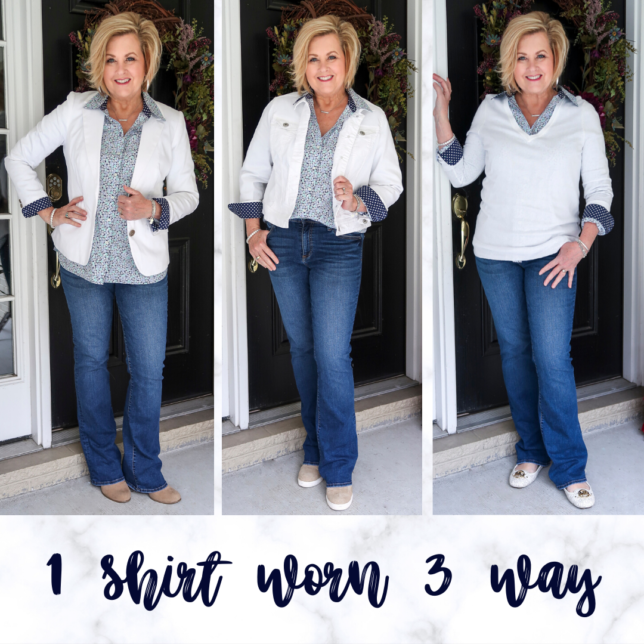 Fashion Blogger 50 Is Not Old wearing a floral shirt 3 different ways