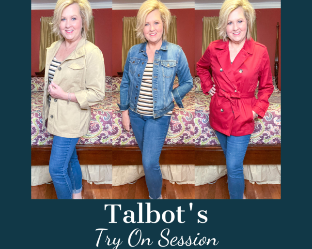 Talbots try on session from Fashion Blogger 50 Is Not Old with 3 different coats