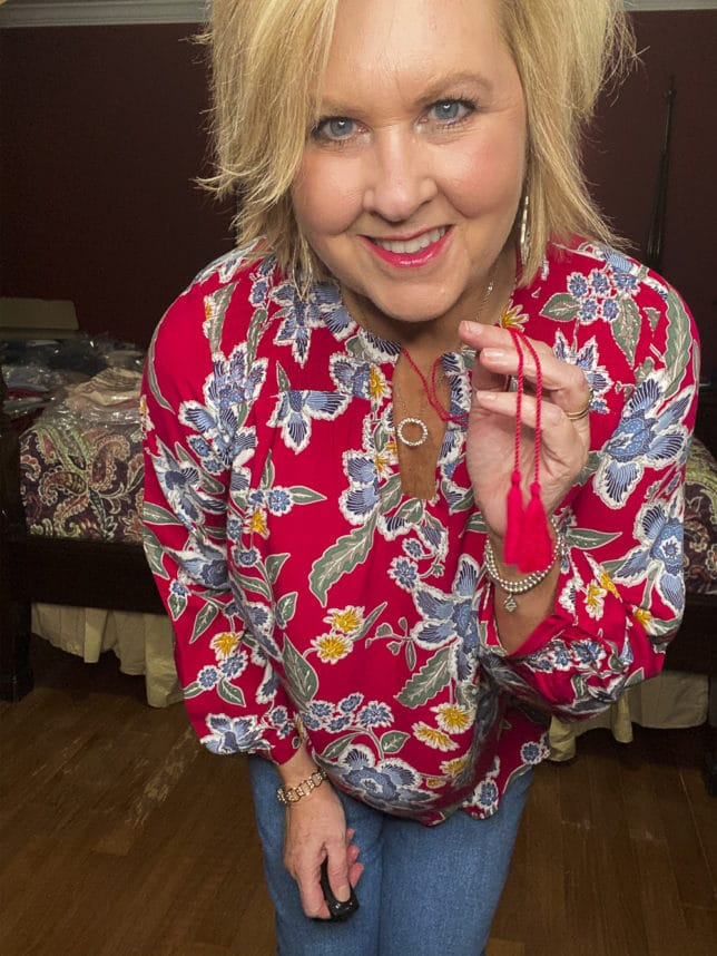 Old Navy try-on haul by Fashion Blogger 50 Is Not Old and she is wearing a bold print boho top