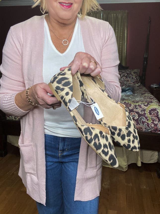 Old Navy try-on haul by Fashion Blogger 50 Is Not Old and she is wearing a soft pink open front cardigan and a pair of leopard print flats