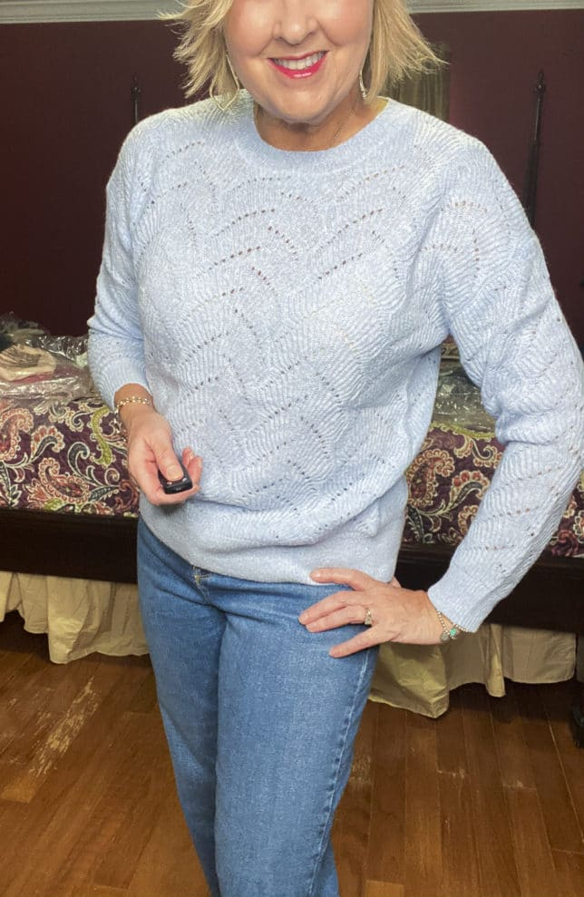 Old Navy try-on haul by Fashion Blogger 50 Is Not Old and she is wearing a sky blue Pointelle sweater