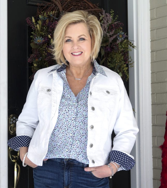 Fashion Blogger 50 Is Not Old wearing a floral shirt from Talbots and a white denim jacket
